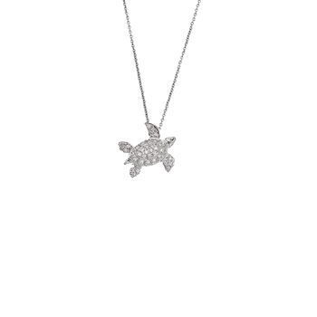 18Kt White Gold Diamond Sea Turtle Pendant