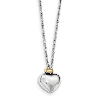SS White Ice Diamond Gold-Tone Double Heart 18in w/2in ext. Necklace