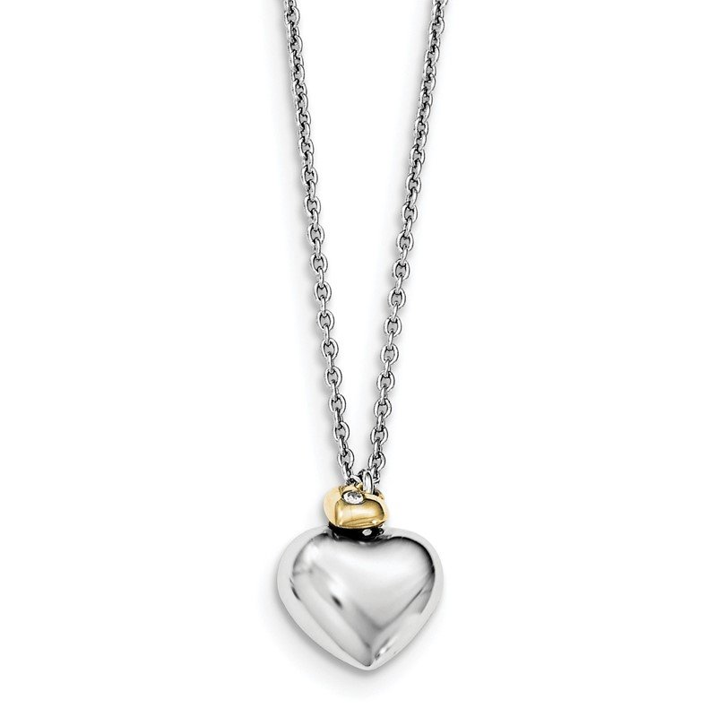 Quality Gold SS White Ice Diamond Gold-Tone Double Heart 18in w/2in ext. Necklace