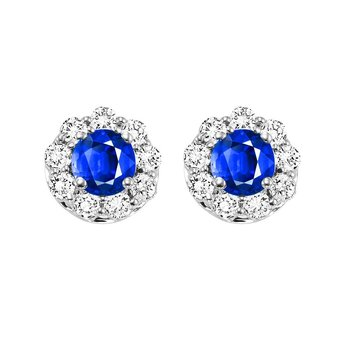 14K White Gold Color Ensembles Halo Prong Sapphire Earrings 3/4 CT