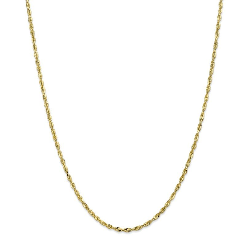 Quality Gold 10k 2.50mm Extra-Light D/C Rope Chain