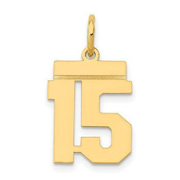 14k Small Polished Number 15 Charm