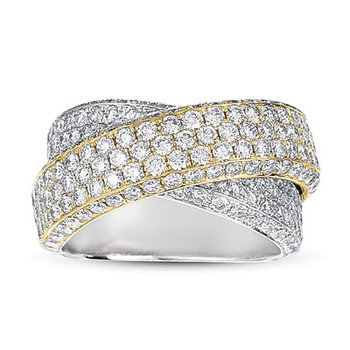 Two Tone Diamond Pave Band