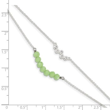 Sterling Silver CZ & Green Glass Beads w/ 1in ext. Bracelet