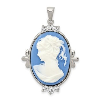 Sterling Silver Rhodium-plated Blue Plastic Cameo with CZ accents Pendant