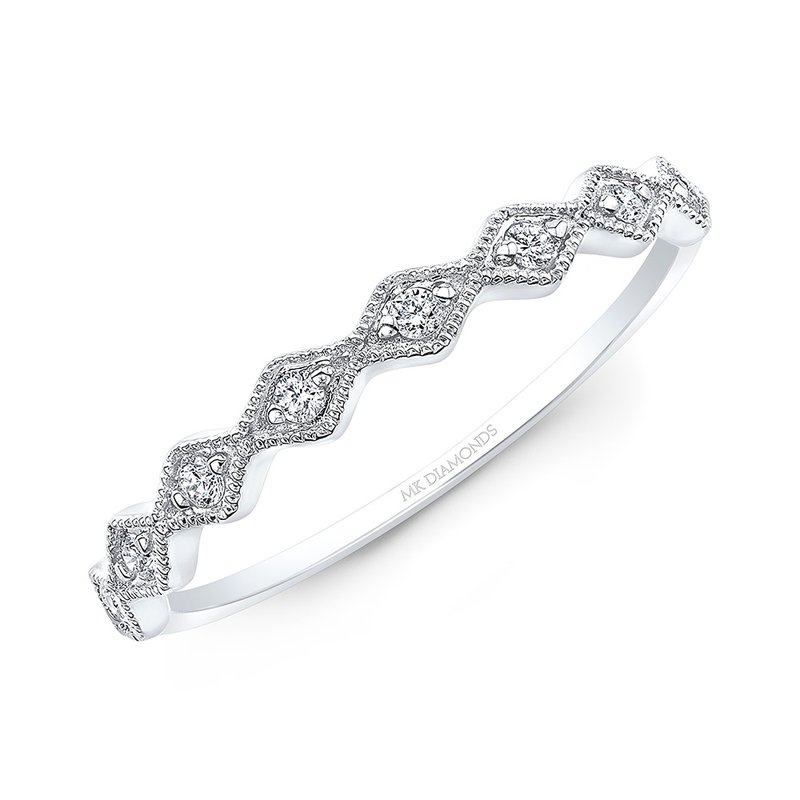 White Gold Milgrain Diamond Shaped Stackable Band