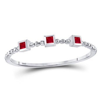 10kt White Gold Womens Princess Ruby 3-Stone Beaded Stackable Band Ring 1/20 Cttw