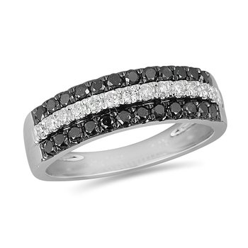 14K WG Black and White Diamond Band