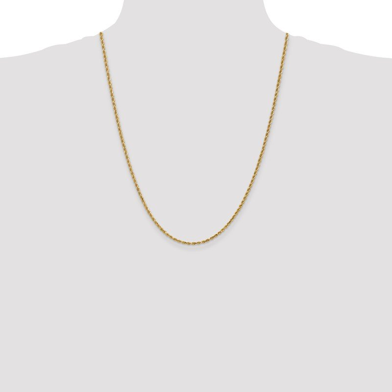 Quality Gold 14k 2.25mm D/C Rope Chain Anklet