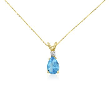 14k Yellow Gold 7X5 Blue Topaz Pear and Diamond Pendant