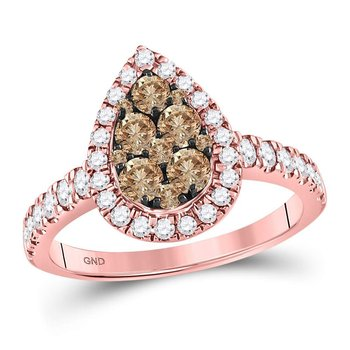 14kt Rose Gold Womens Round Cognac-brown Color Enhanced Diamond Teardrop Cluster Ring 1.00 Cttw