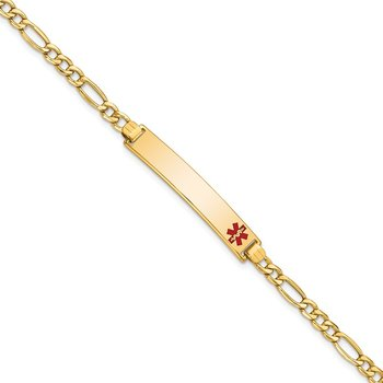 14K Semi-solid Medical Red Enamel Figaro ID Bracelet