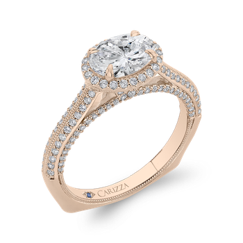 14K Rose Gold Oval Diamond Halo Engagement Ring with Euro Shank (Semi-Mount)
