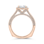 Carizza 14K Rose Gold Oval Diamond Halo Engagement Ring with Euro Shank (Semi-Mount)