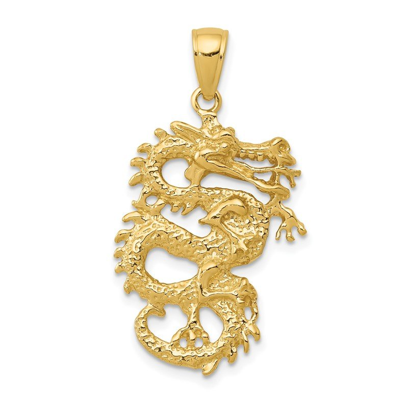 Quality Gold 14k Solid 3-D Dragon Pendant