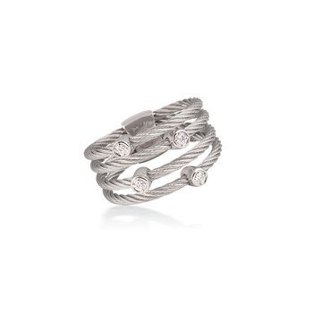 Grey Cable Petite Satellite Ring with 18kt White Gold & Diamonds