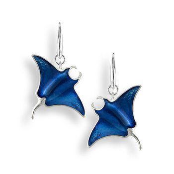 Blue Manta Ray Wire Earrings.Sterling Silver