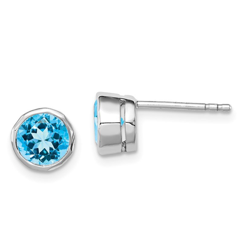 Quality Gold Sterling Silver Rhodium-plated Blue Topaz Circle Stud Earrings