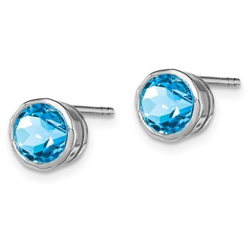 Sterling Silver Rhodium-plated Blue Topaz Circle Stud Earrings