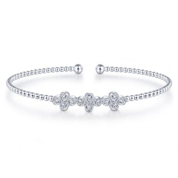 14K White Gold Bujukan Bead Cuff Bracelet with Three Quatrefoil Diamond Stations
