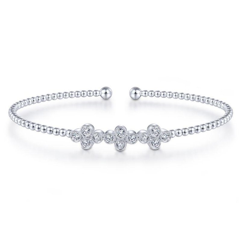 Gabriel Fashion Bestsellers 14K White Gold Bujukan Bead Cuff Bracelet with Three Quatrefoil Diamond Stations