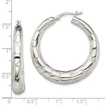 Sterling Silver Polished Textured Hoop Earrings