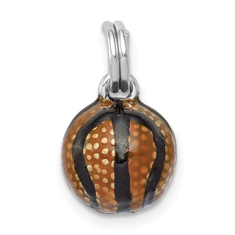 Quality Gold Sterling Silver Rhodium-plated 3D Enamel Basketball Charm