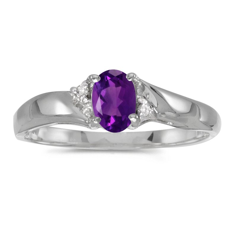Color Merchants Sterling Silver Oval Amethyst And Diamond Ring