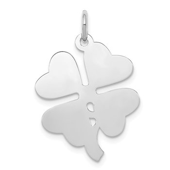 Sterling Silver Rhodium-plated 4-leaf Clover Polished Disc Charm