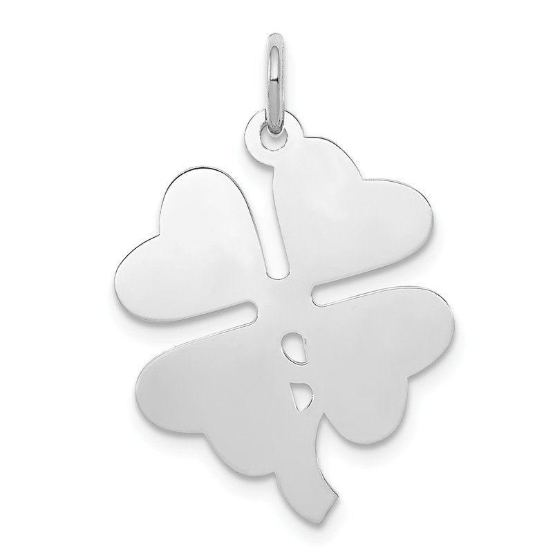 Quality Gold Sterling Silver Rhodium-plated 4-leaf Clover Polished Disc Charm