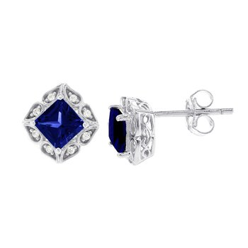 14k White Gold Created Sapphire and Diamond Accent Earrings