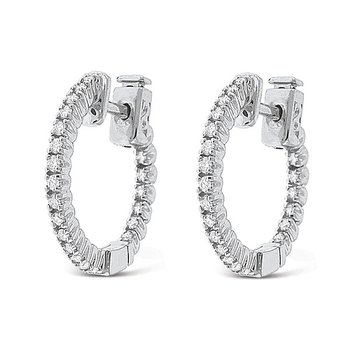 Diamond Inside Outside Hoop Earrings in 14k White Gold with 50 Diamonds weighing .44ct tw.