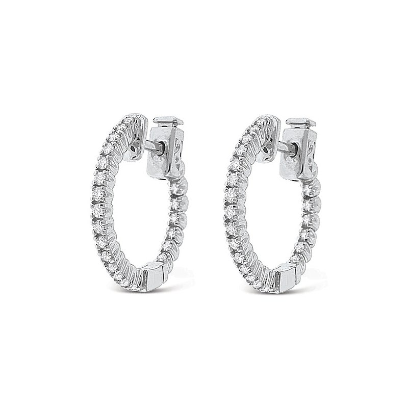 KC Designs Diamond Inside Outside Hoop Earrings in 14k White Gold with 50 Diamonds weighing .44ct tw.