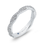 Carizza 14K White Gold Round Diamond Crossover Wedding Band