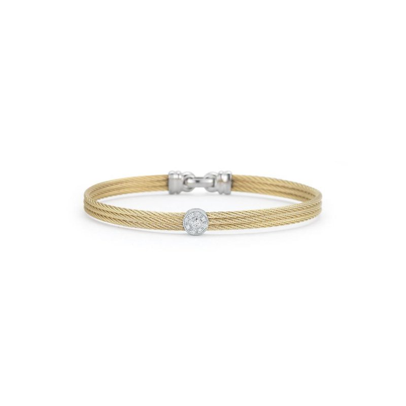 ALOR Yellow Cable Classic Stackable Bracelet with Single Round Station set in 18kt White Gold
