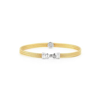 Yellow Cable Classic Stackable Bracelet with Single Round Station set in 18kt White Gold