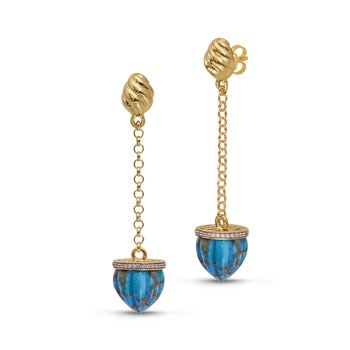 LuvMyJewelry Glory of the Sun Turquoise & Diamond Sling Earrings in Sterling Silver & 14 KT Yellow Gold Plating