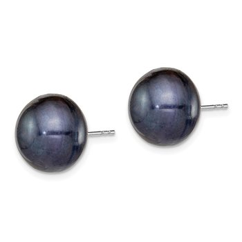 Sterling Silver Rh-plated 12-13mm Black FWC Button Pearl Earrings