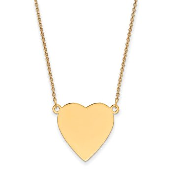 14k Plain .018 Gauge Heart Engravable Disc 18in Necklace