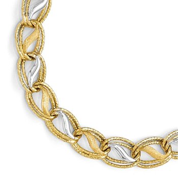 Leslie's 14k Two-tone Polished, Brushed & Textured Link Necklace