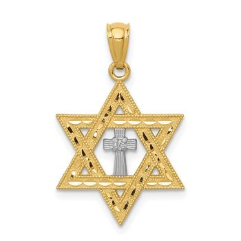 14K Diamond W/Rhodium Star Of David With Cross Charm