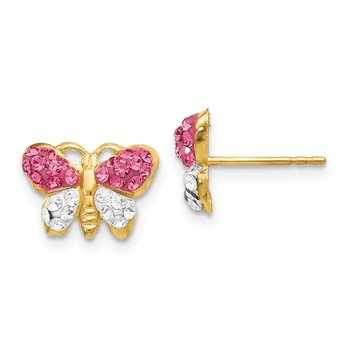14k Pink/White Crystal Butterfly Post Earrings