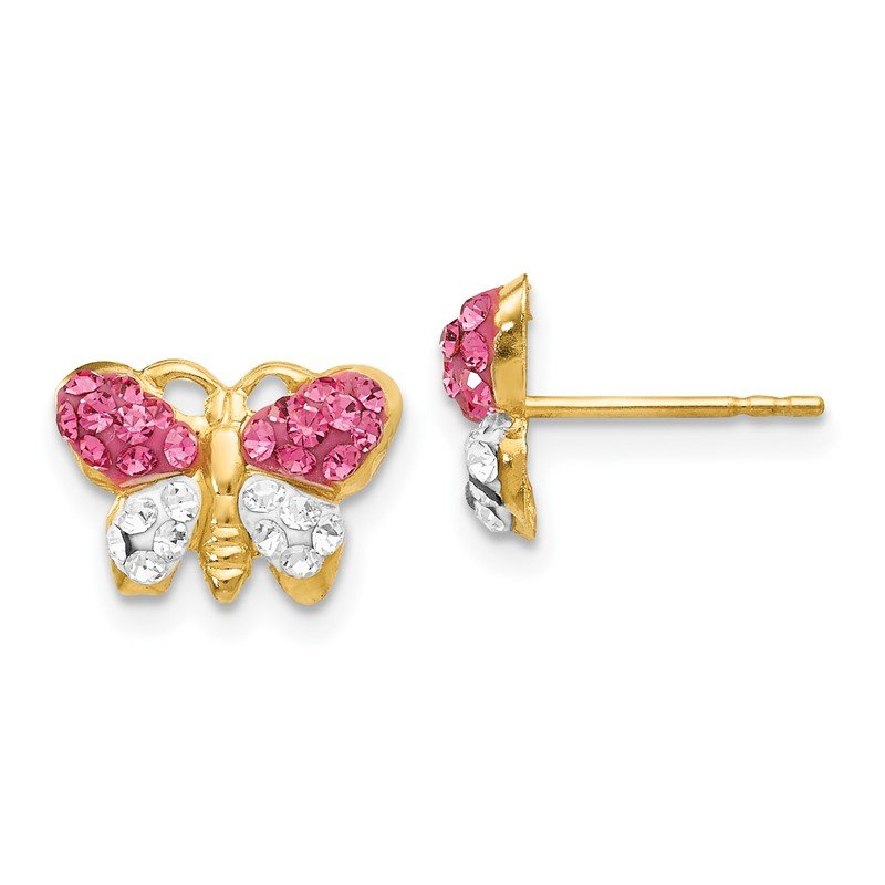 Quality Gold 14k Pink/White Crystal Butterfly Post Earrings