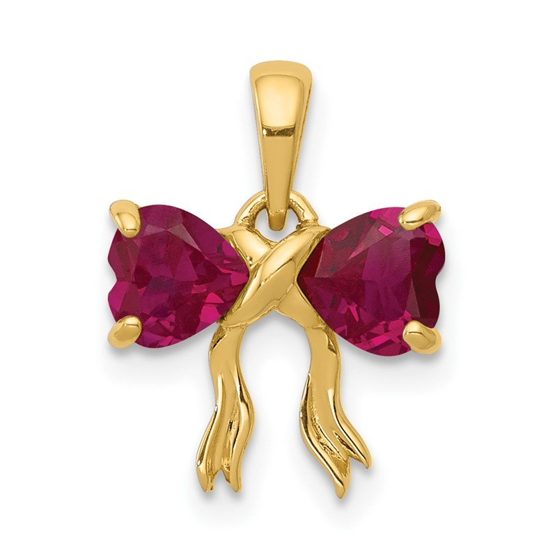 Quality Gold 14k Gold Polished Created Ruby Bow Pendant