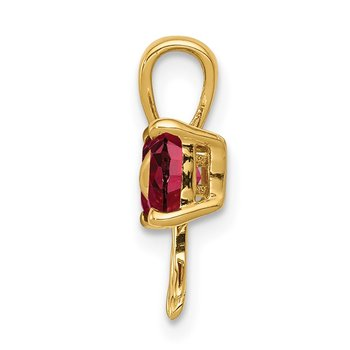 14k Gold Polished Created Ruby Bow Pendant