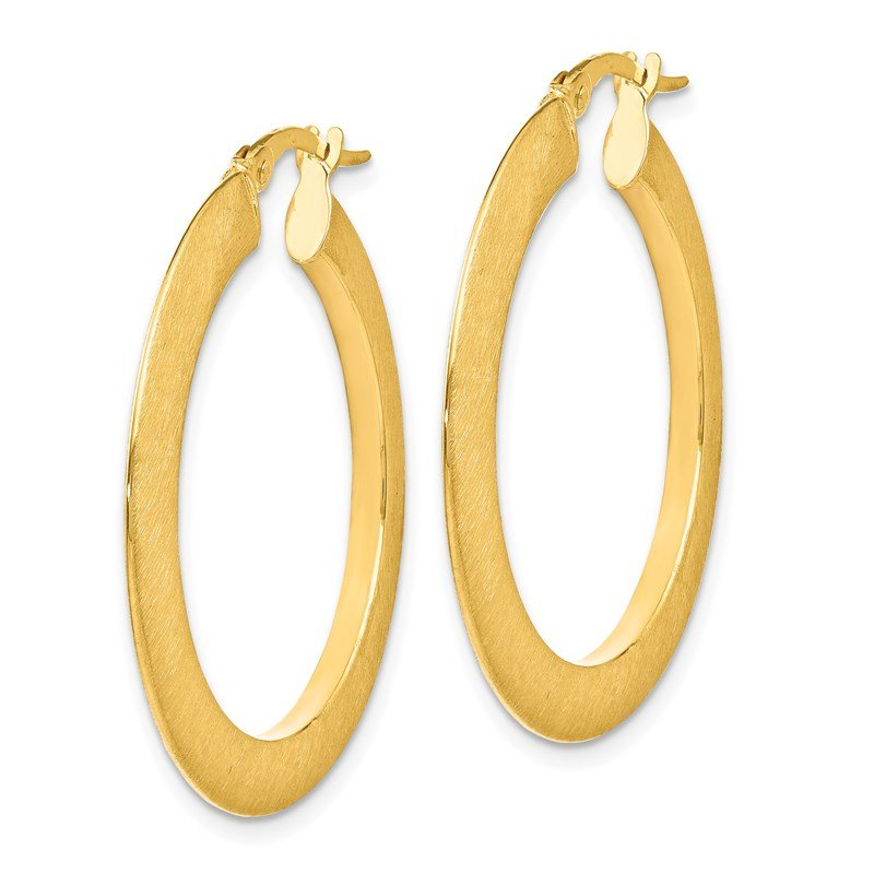 Leslie's Leslie's 14K Brushed Hinged Hoop Earrings