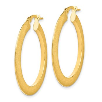 Leslie's 14K Brushed Hinged Hoop Earrings
