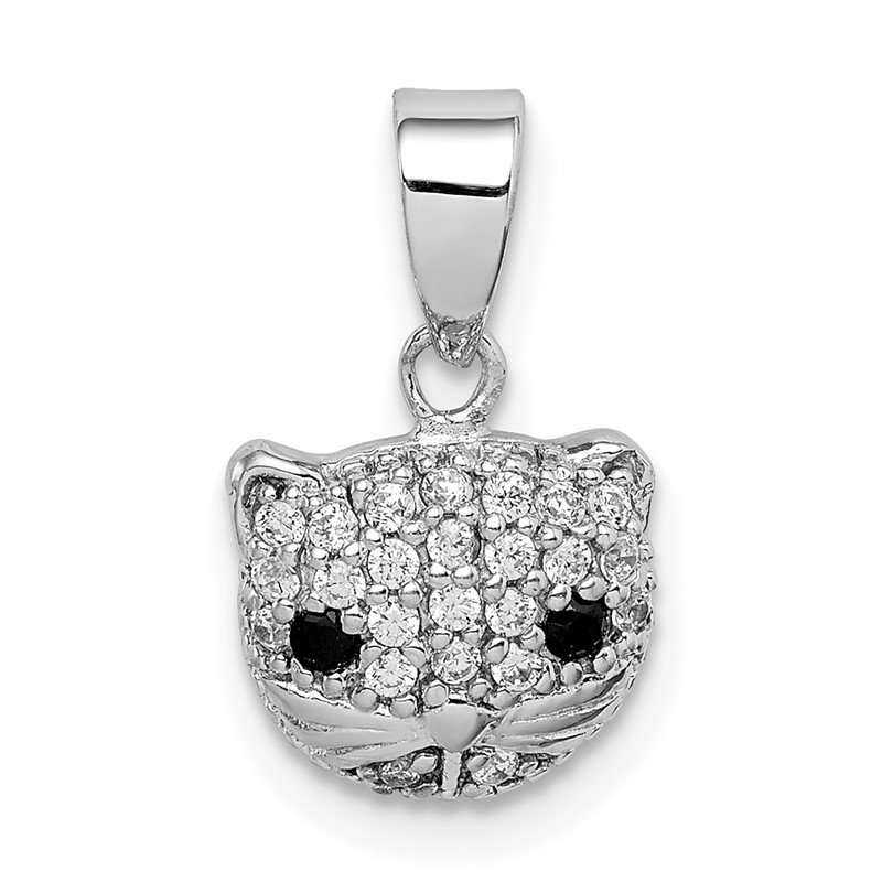 Quality Gold Sterling Silver Rhodium-plated CZ Cat Pendant