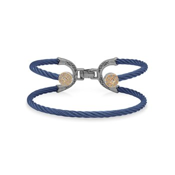 Blueberry Cable Balance Bracelet with 18kt Rose Gold & Dual Round Diamond Stations