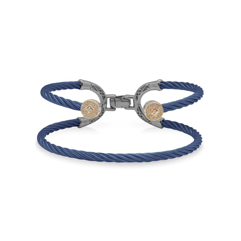 ALOR Blueberry Cable Balance Bracelet with 18kt Rose Gold & Dual Round Diamond Stations